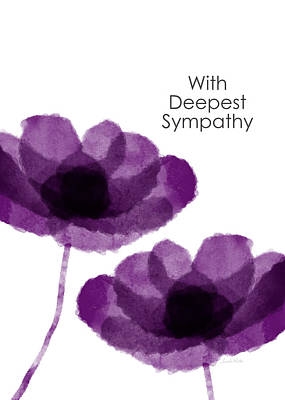 Purple Flowers Sympathy Card- Art By Linda Woods Poster