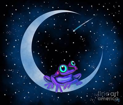 Poster featuring the painting Purple Frog On A Crescent Moon by Nick Gustafson