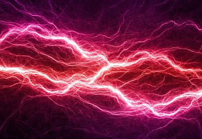 Purple Lightning Poster by Martin Capek