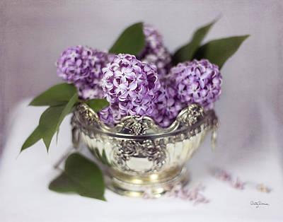 Purple Lilacs In Silver Bowl Poster