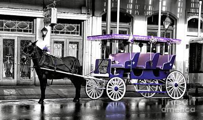 Purple Mardi Gras Carriage Fusion Poster by John Rizzuto