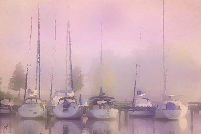 Poster featuring the digital art Purple Marina Morning by Shelli Fitzpatrick