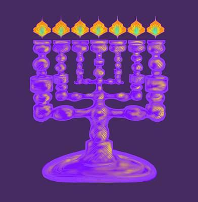 Purple Menorah Flamed Poster