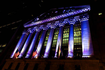 Purple New York Stock Exchange At Night - Impressions Of Manhattan Poster