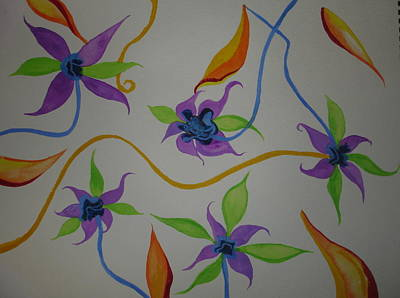 Poster featuring the painting Purple-orange Flowers by Erika Swartzkopf