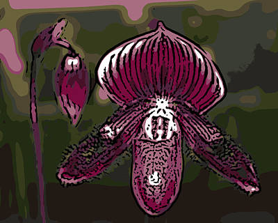 Purple Orchid Woodcut Poster by Ann Tracy
