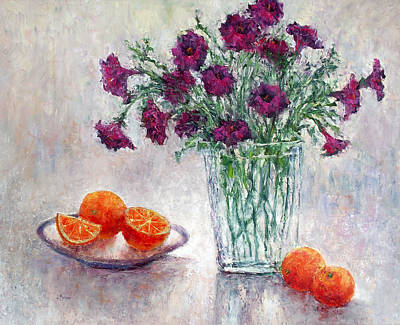 Purple Petunias And Oranges Poster