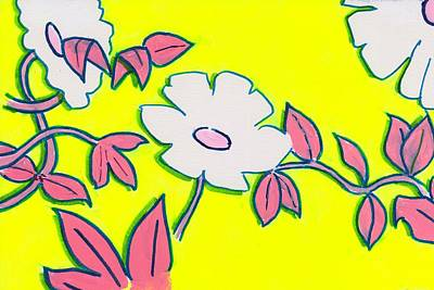 Purple Pointed Petals And Bright White Flowers Against Yellow Poster by Mike Jory