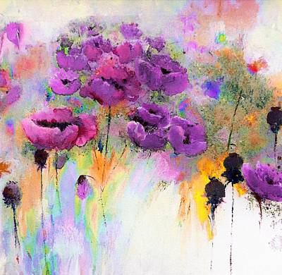 Purple Poppy Passion Painting Poster