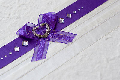 Purple Ribbon Heart Poster