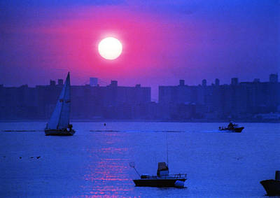 Purple Sunset Off Breezy Point Bayside Poster