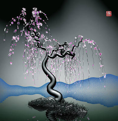 Purple Tree In Water 2 Poster by GuoJun Pan