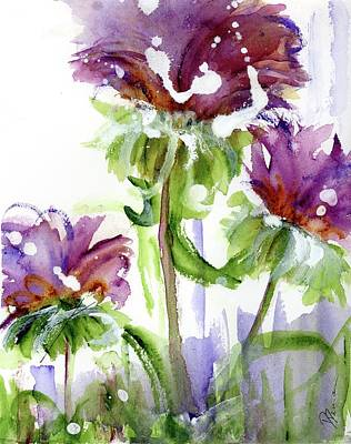 Poster featuring the painting Purple Wildflowers by Dawn Derman