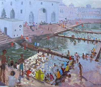 Pushkar Ghats Rajasthan Poster by Andrew Macara
