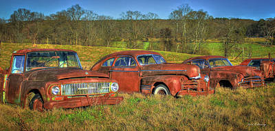 Put Out To Pasture Old Cars And Trucks Art Poster by Reid Callaway