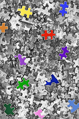 Puzzle Pieces - Jigsaw Abstract 2 Poster by Steve Ohlsen
