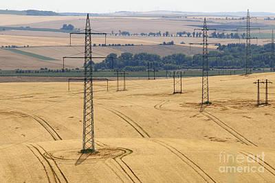 Pylons In The Fields Poster by Michal Boubin