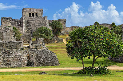 Poster featuring the photograph Pyramid El Castillo - Tulum Mayan Ruins - Mexico by Jason Politte