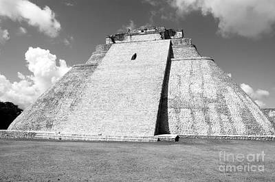 Pyramid Of The Magician At Uxmal Mexico Black And White Poster by Shawn O'Brien