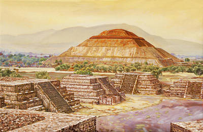 Pyramids At Teotihuacan Poster by Dominique Amendola