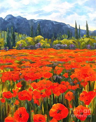 Pyrenees Poppies Poster by Diane Daigle