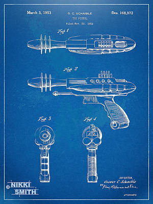 Pyrotomic Disintegrator Pistol Patent Poster by Nikki Marie Smith