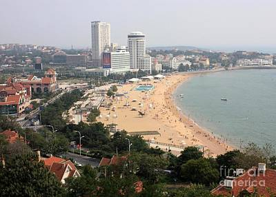 Qingdao Beach With Skyline Poster by Carol Groenen