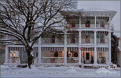 Quaaker Inn At Ocean Grove In The Snow Poster