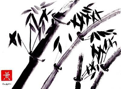 Quad Sumi E Bamboo Poster by Ken Hughson
