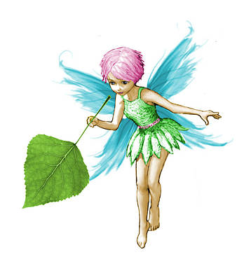 Quaking Aspen Tree Fairy Holding Leaf Poster