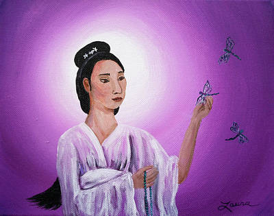 Quan Yin With Three Dragonflies Poster by Laura Iverson