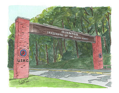Poster featuring the painting Quantico Welcome by Betsy Hackett