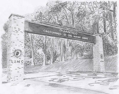 Poster featuring the drawing Quantico Welcome Graphite by Betsy Hackett