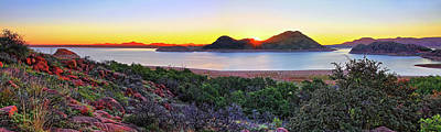 Quartz Mountains And Lake Altus Panorama - Oklahoma Poster