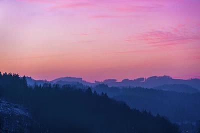 Quartz Sunset Sky Over Blue Ridges Of Mountains Poster by Jenny Rainbow