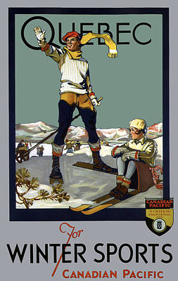 Quebec Canada For Winter Sports Vintage Travel  1930 Poster by Daniel Hagerman