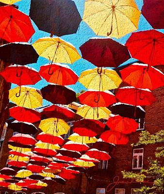 Poster featuring the painting Raining Umbrellas by Joan Reese