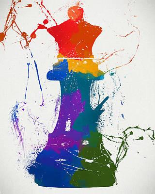 Queen Chess Piece Paint Splatter Poster by Dan Sproul