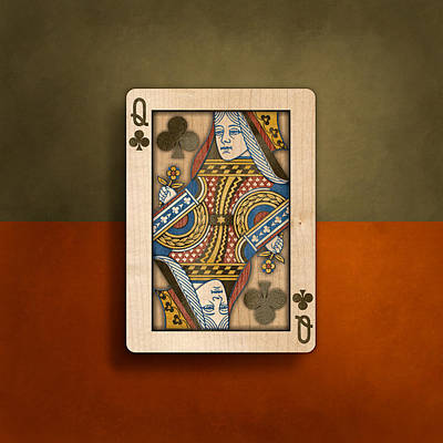 Queen Of Clubs In Wood Poster