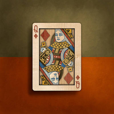 Queen Of Diamonds In Wood Poster by YoPedro
