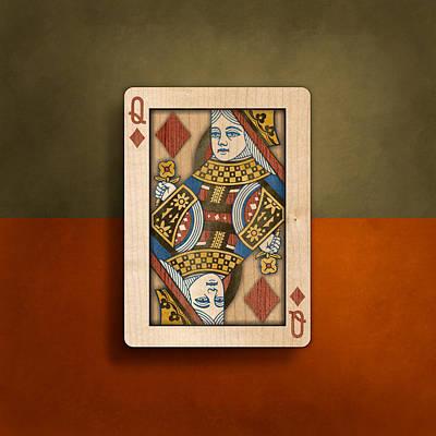 Queen Of Diamonds In Wood Poster