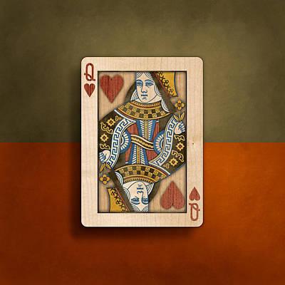 Queen Of Hearts In Wood Poster