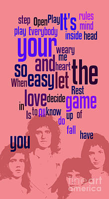 Queen. Play The Game. Can You Recognize The Song? Can You Recognize The Band? Game For Fans Poster by Pablo Franchi