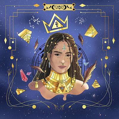 Queen Zoe Kravitz Illustration Poster by Kenal Louis