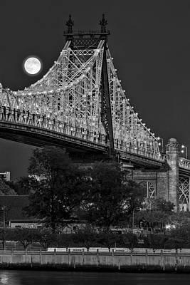 Queensboro 59 Street Bridge Full Moon Bw Poster by Susan Candelario