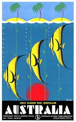 Queensland Great Barrier Reef - Restored Vintage Poster Poster