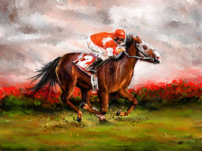 Quest For The Win - Horse Racing Art Poster by Lourry Legarde