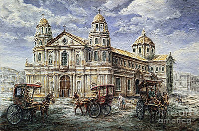 Poster featuring the painting Quiapo Church 1900s by Joey Agbayani