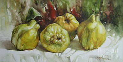 Poster featuring the painting Quinces by Elena Oleniuc