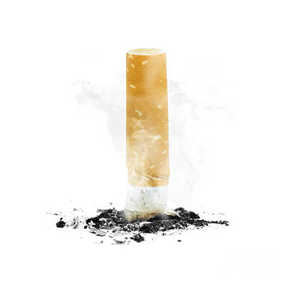 Quit Smoking With Stubbed Out Cigarette On White Poster by Jorgo Photography - Wall Art Gallery